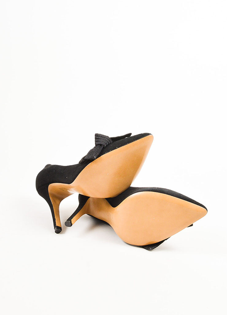 "Isabel Marant Black Suede Pointed Toe Folded Bow ""Poppy"" Pumps Outsoles"