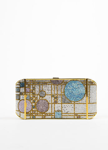 Judith Leiber Pink and Gold Toned Swarovski Crystal Geometric Patterned Minaudiere Frontview