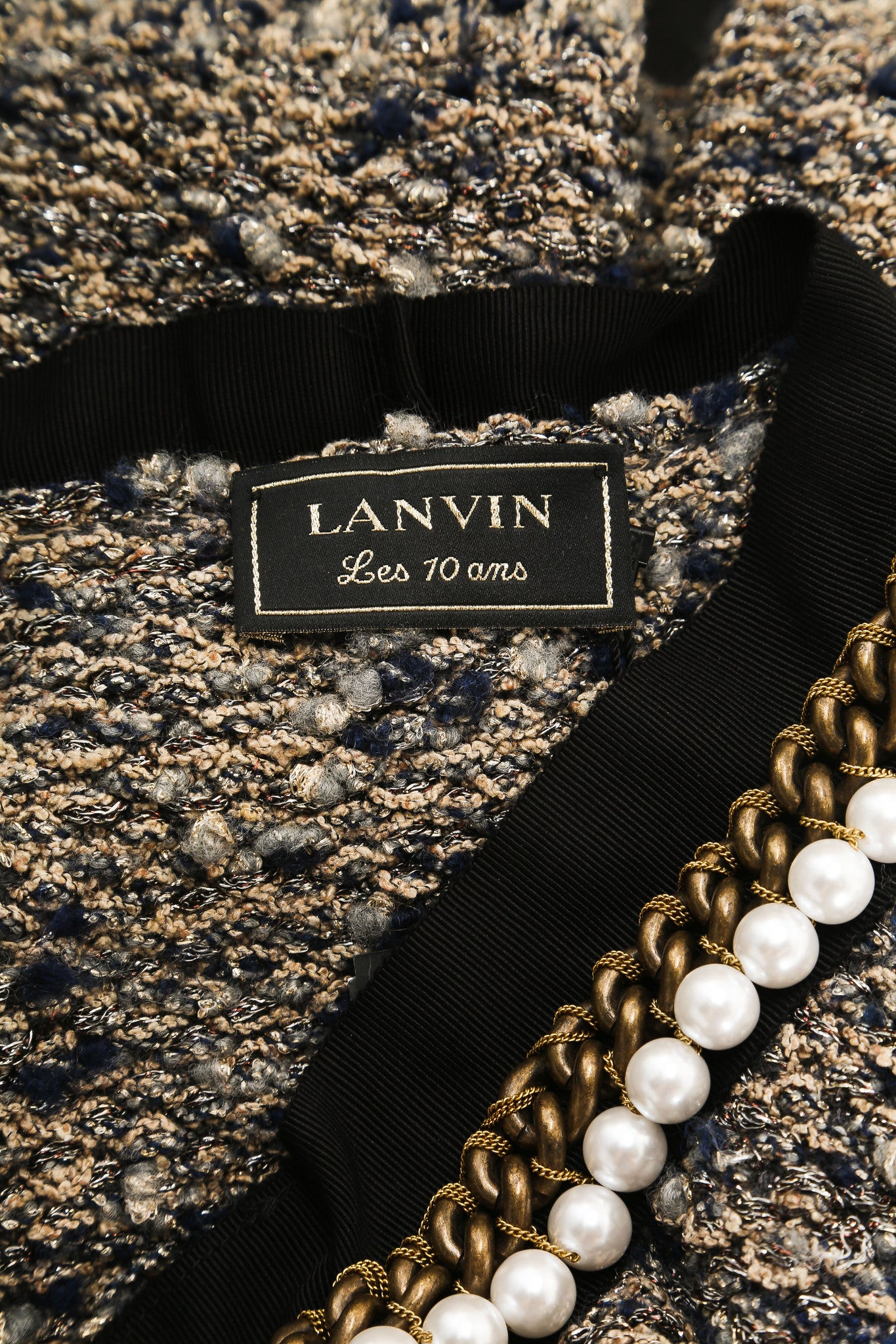 Lanvin Beige and Navy Wool and Silk Tweed Metallic Pearl Chain Trim Jacket Brand