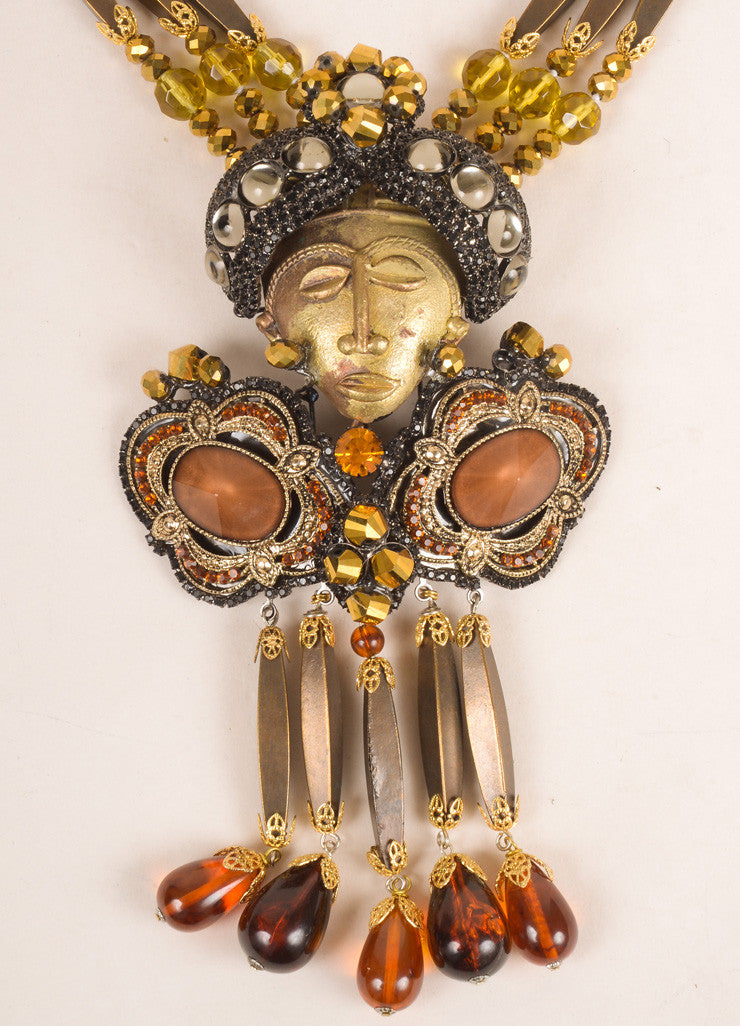 Lawrence Vrba Bronze Toned and Multicolor Beaded Rhinestone Face Necklace and Brooch Pin Detail