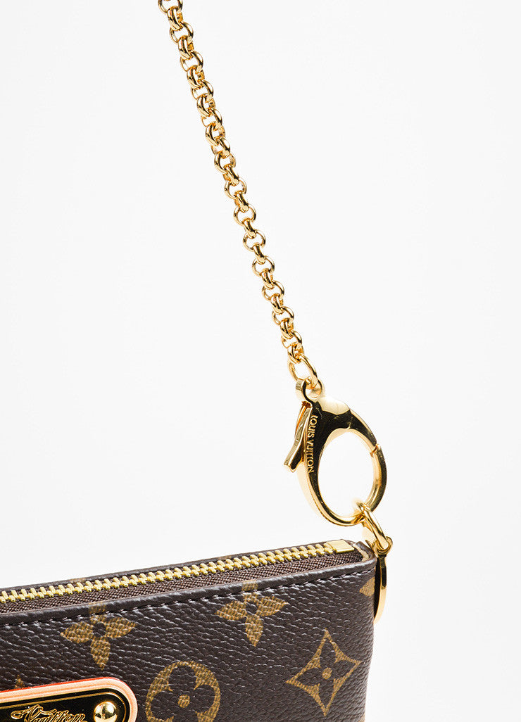 "Brown and Tan Coated Canvas Monogram ""Milla MM"" Chain Clutch Detail 2"