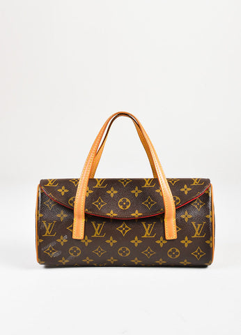 "Louis Vuitton Brown and Tan Coated Canvas and Leather Trim ""Sonatine"" Flap Bag Frontview"