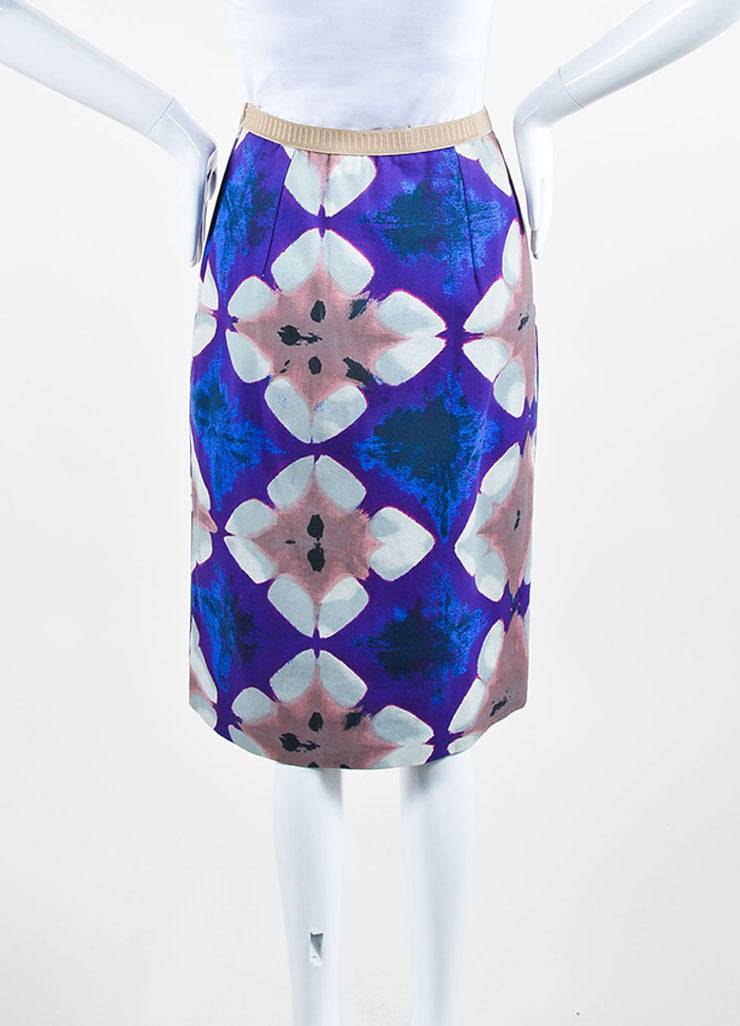 Purple, Blue, and Multicolor Marni Cotton Canvas Print Pencil Skirt Backview
