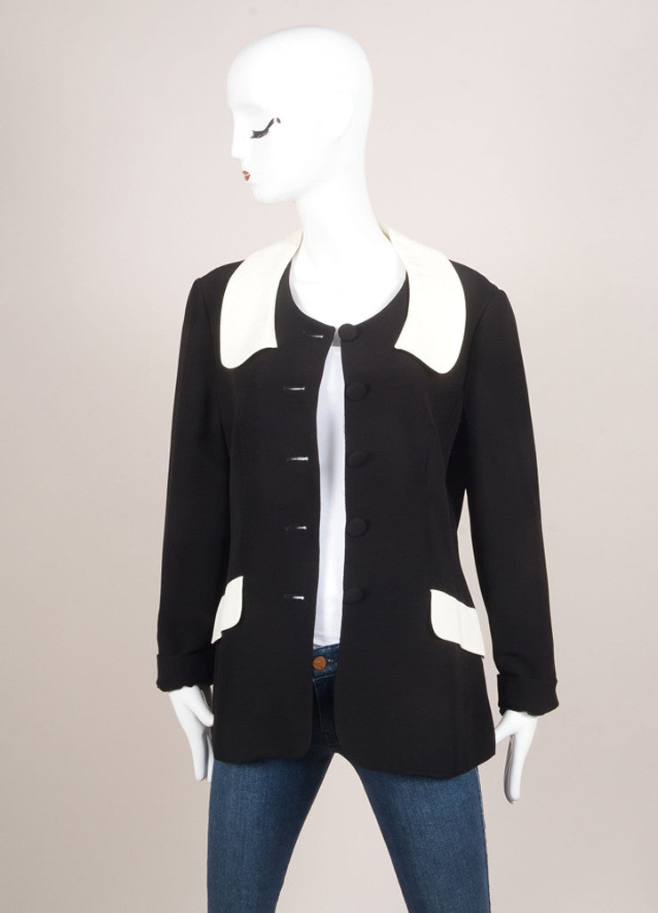 Moschino Cheap and Chic Black and Cream Peter Pan Collar Jacket Frontview