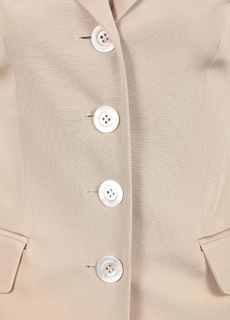 Moschino Tan Long Fitted Silk Blazer Detail