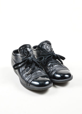 Black Chanel Leather Patent Cap Toe 'CC' Sneakers Frontview