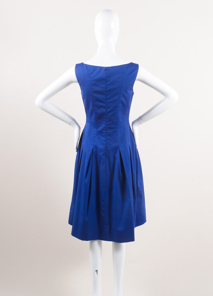 Oscar de la Renta New With Tags Blue Cotton Sleeveless Pleated A-Line Dress Backview