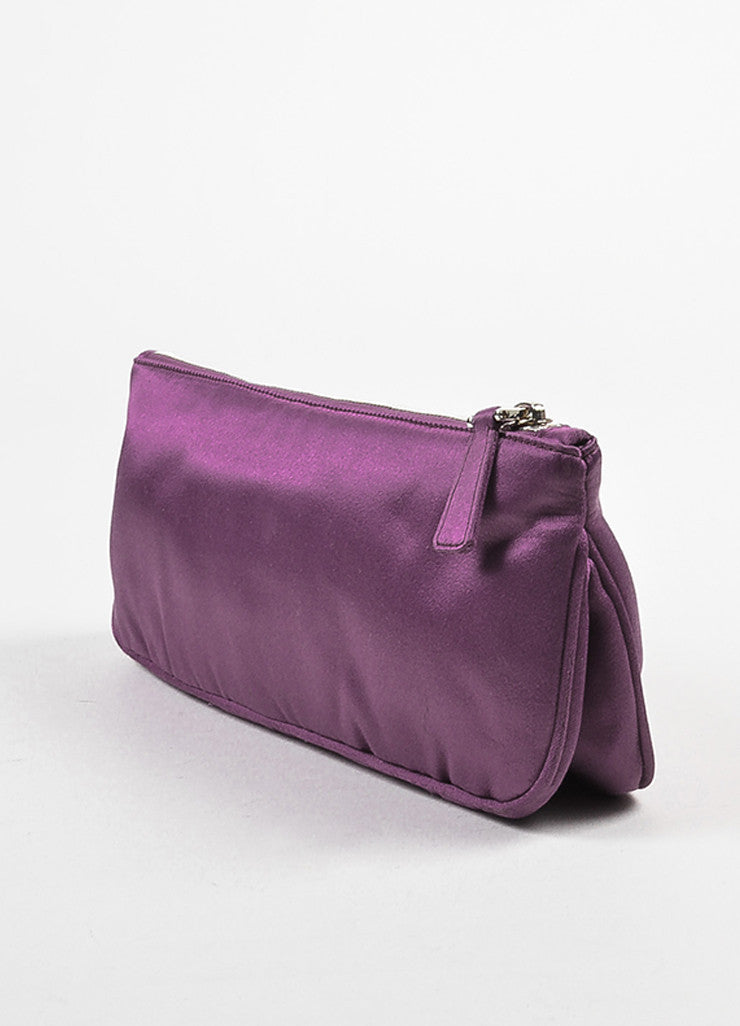 Prada Purple Satin Zipper Clutch Bag Sideview