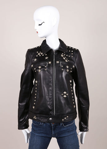 R13 New With Tags Black Leather Studded Zip Moto Jacket Frontview