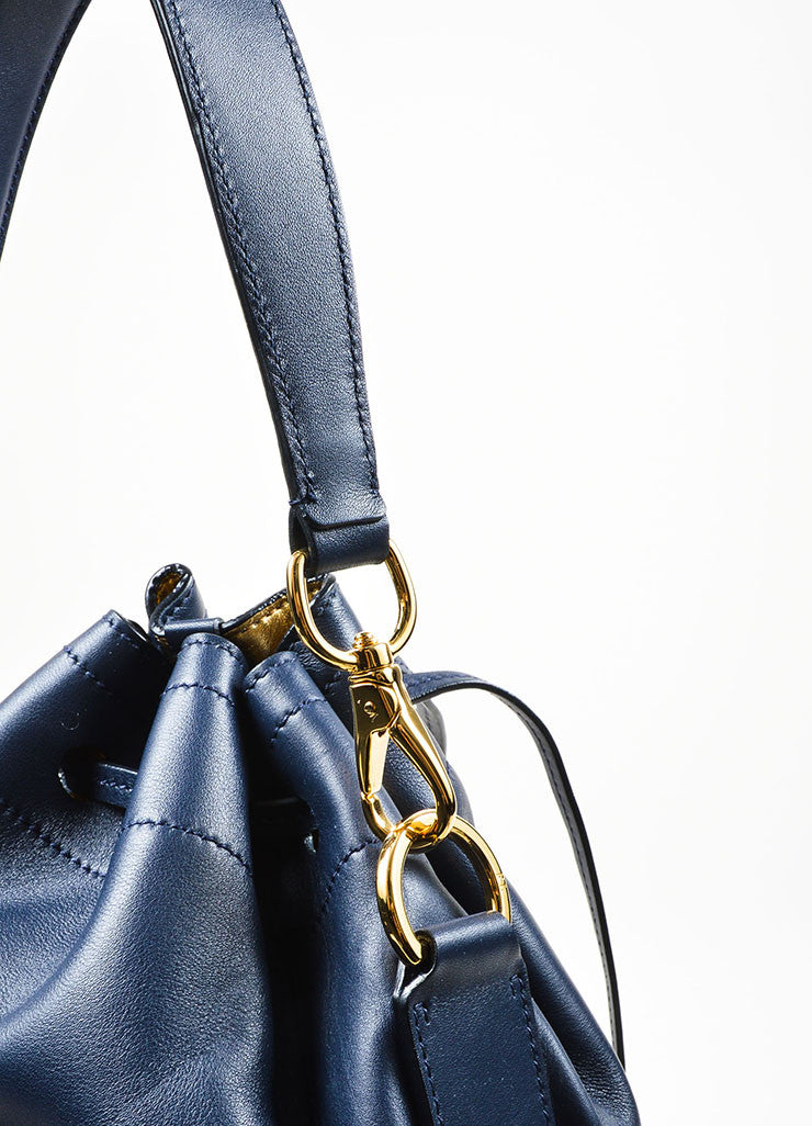 """Cadet Blue"" Ralph Lauren Leather ""Ricky Drawstring"" Bucket Bag Detail 2"
