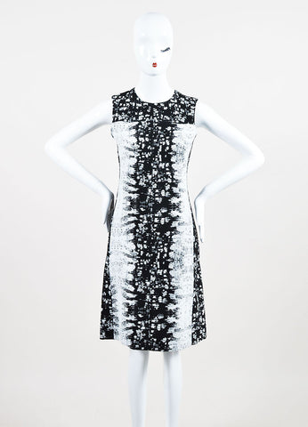Black and White Reed Krakoff Silk Blend Reptile Print Sleeveless Sheath Dress Frontview
