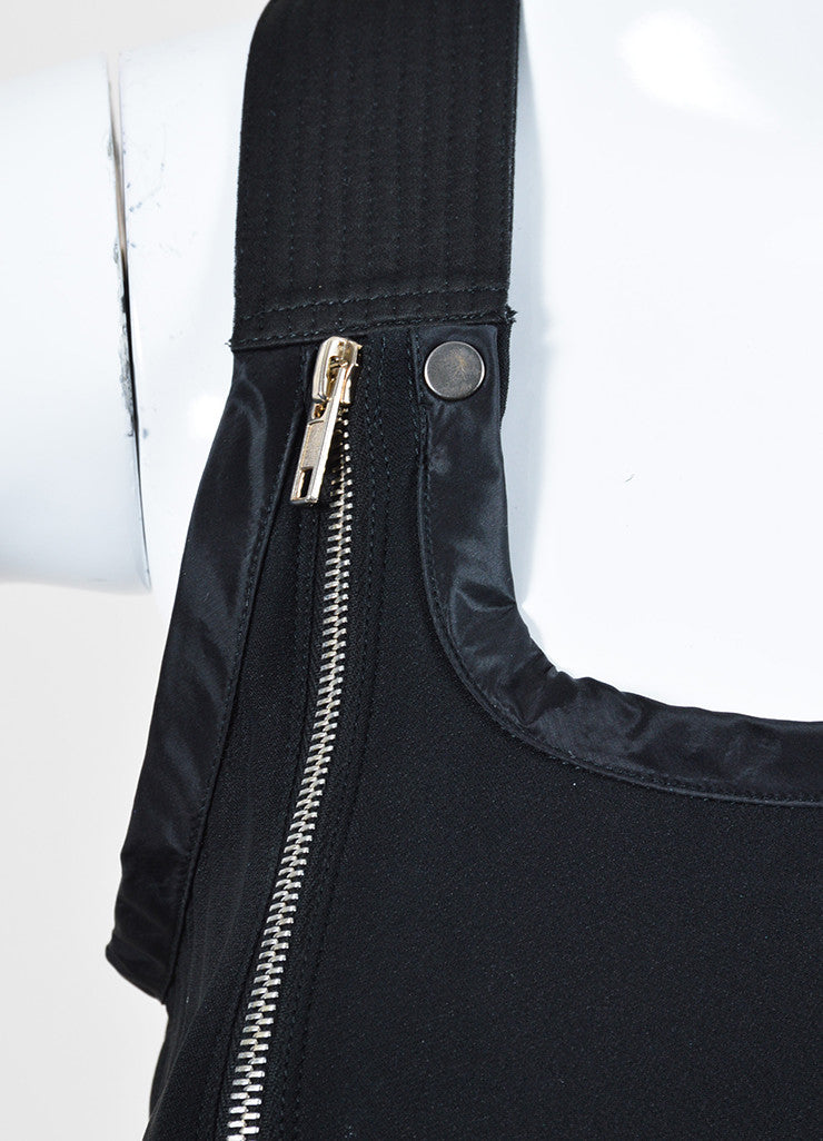 "í_í_Œ¢í_?çí_í_Rick Owens Black Chiffon Satin Trim Zipper Detail ""Vicious"" Sleeveless Dress Detail"