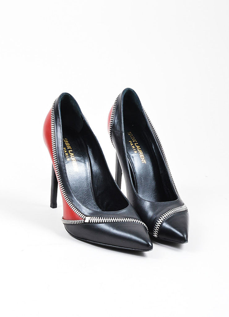 Black and Red Saint Laurent Leather Zippered Pointed Toe Pumps Frontview