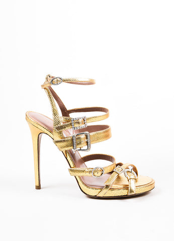 Tabitha Simmons Gold Lizard Embossed Leather Rhinestone Buckle Sandals