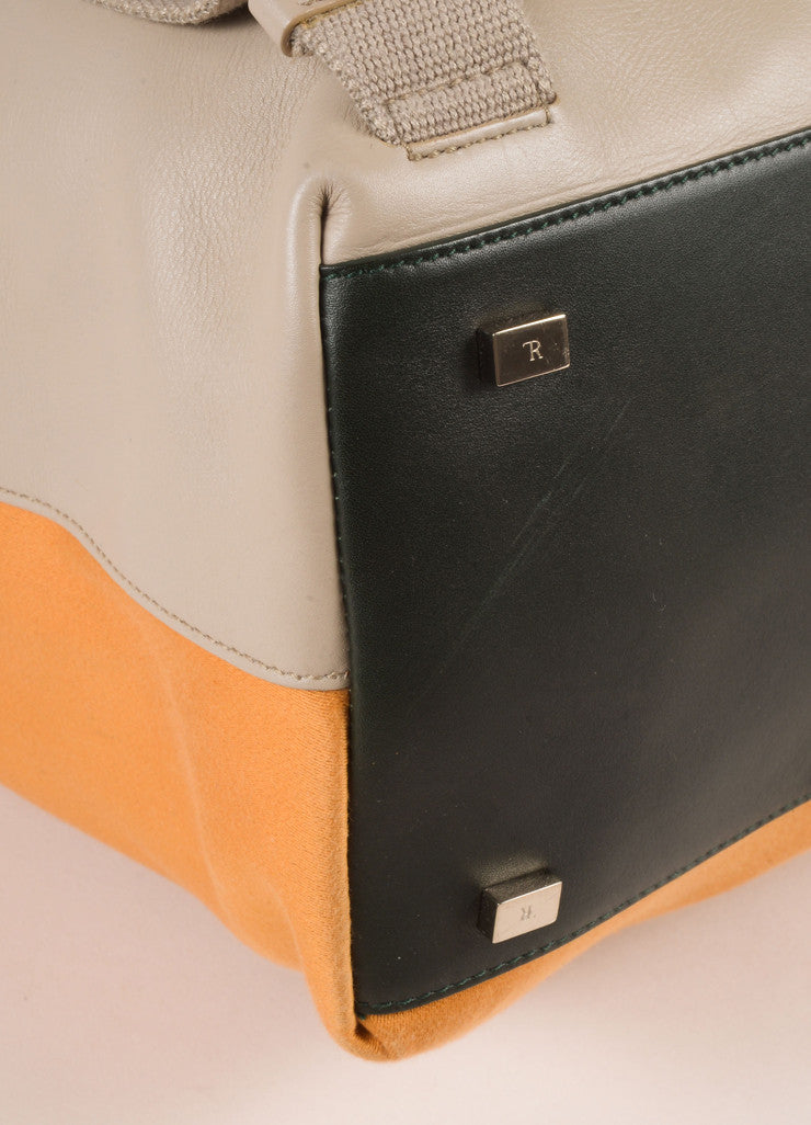 The Row Orange and Grey Cotton and Leather Drawstring Backpack Detail