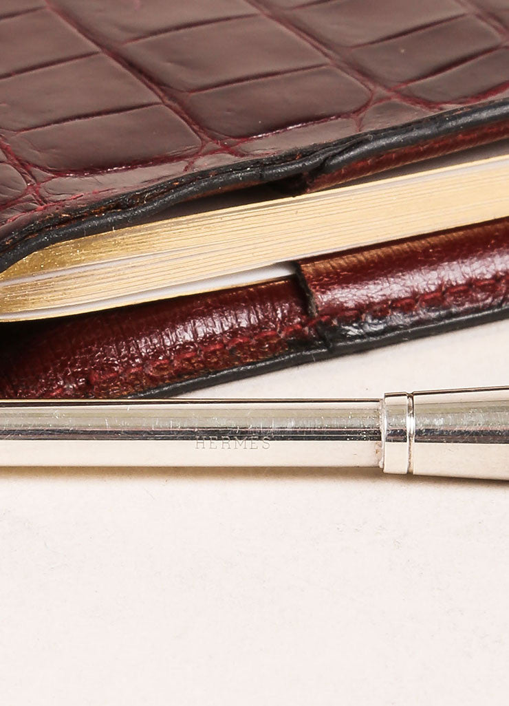 Hermes Brown Crocodile Leather Planner Address Book Cover Detail