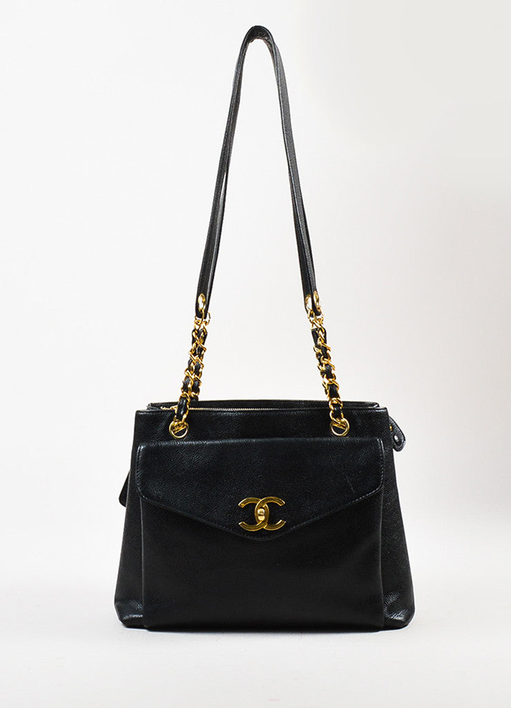 Chanel Black and Gold Toned Caviar Leather 'CC' Twist Lock Shoulder Bag Frontview
