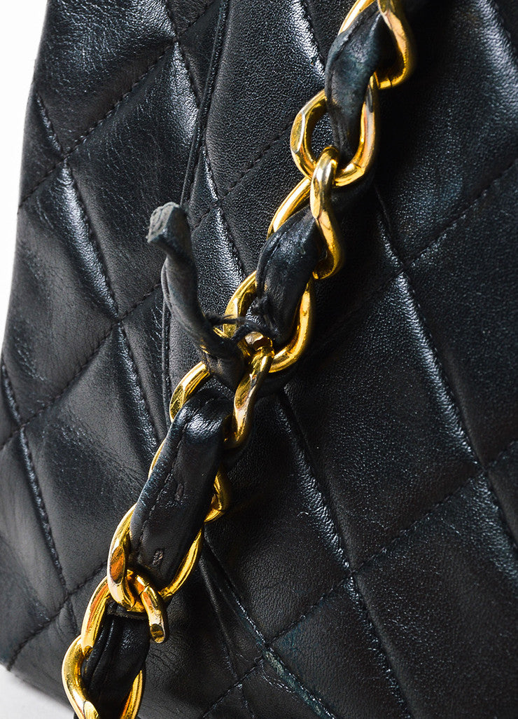 Chanel Black Quilted Lambskin Leather Gold Toned Chain Flap Shoulder Bag Detail 5