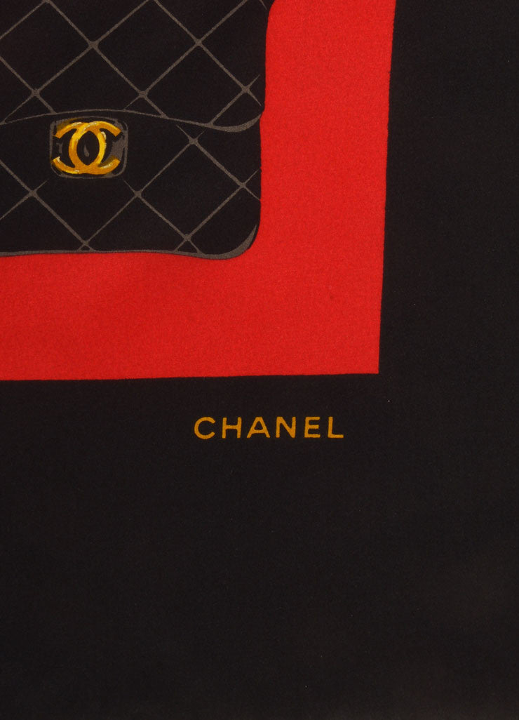 Chanel Red, Black, and Multicolor Bag Print Silk Scarf Brand