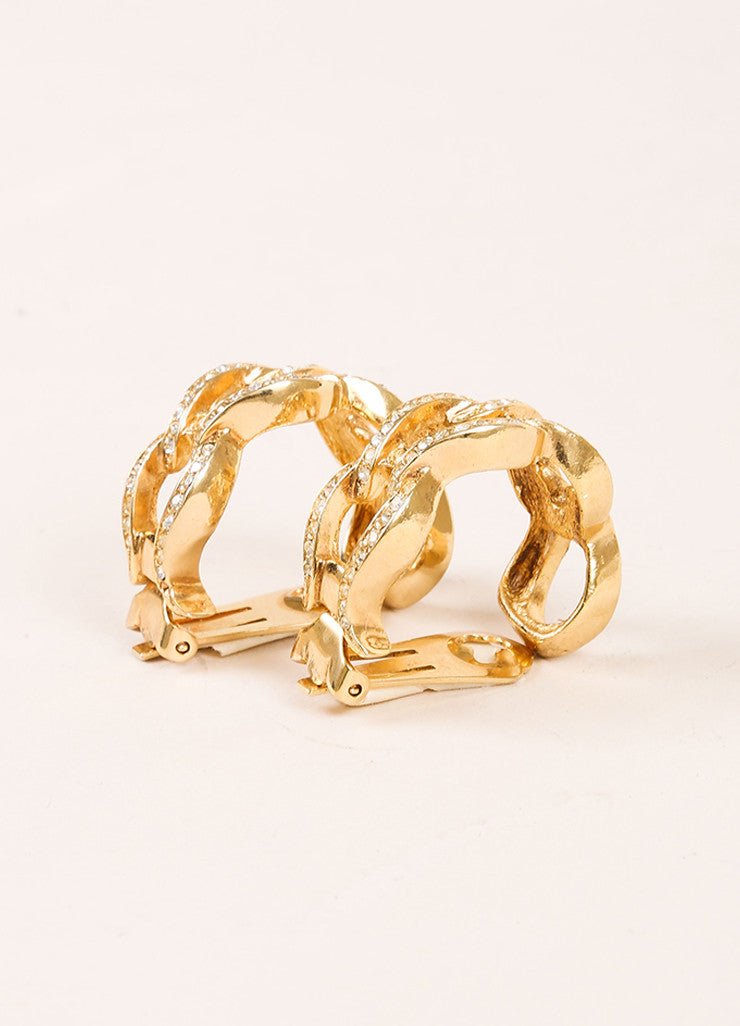 Christian Dior Gold Toned Rhinestone Open Link Hoop Earrings Sideview