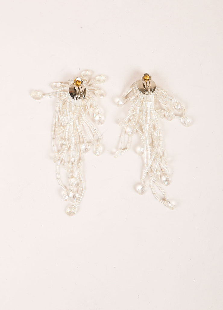 Vintage Iridescent Faux Crystal Cluster Tassel Earrings Backview