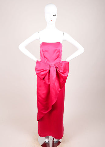 Victor Costa Pink Tulip Silhouette Oversized Bow Long Strapless Dress Frontview