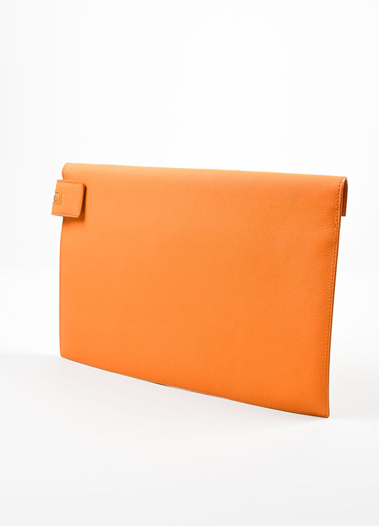 Orange Victoria Beckham Python and Buffalo Zip Oversized Pouch Clutch Bag Sideview