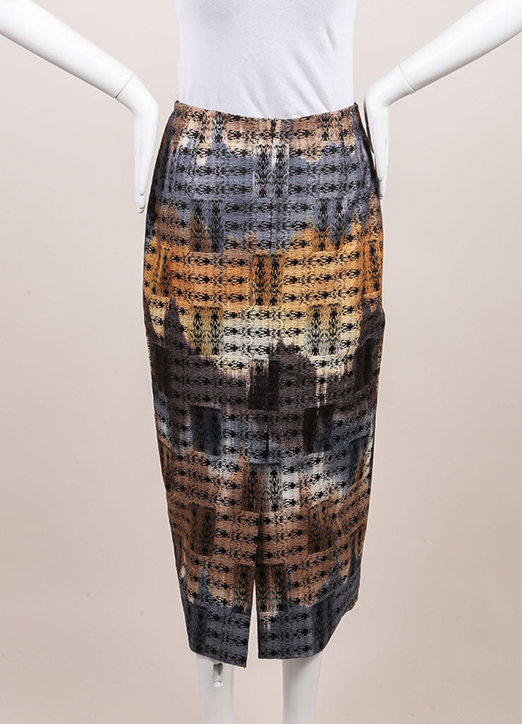 Wes Gordon New With Tags Black, Blue, and Tan Cotton Woven Midi Pencil Skirt Backview