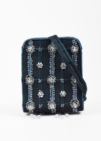 Giorgio Armani Navy and Clear Beaded Tassel Crossbody Handbag Frontview