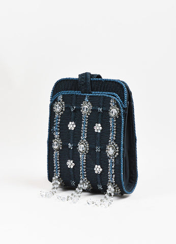 Giorgio Armani Navy and Clear Beaded Tassel Crossbody Handbag Sideview