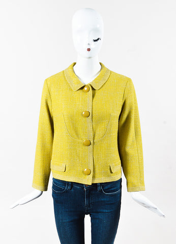 Louis Vuitton Chartreuse Tweed Cropped Oversized Snap Front Jacket Front