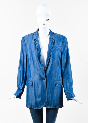 Gucci Blue Chambray Single Button Blazer Jacket Front