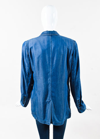 Gucci Blue Chambray Single Button Blazer Jacket Back
