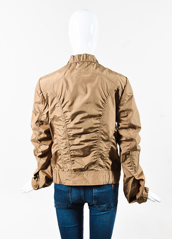 Gucci Beige Nylon Ruched Windbreaker Bomber Jacket Back