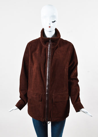 Loro Piana Maroon Suede Knit Collar Zipper Long Sleeve Jacket Front