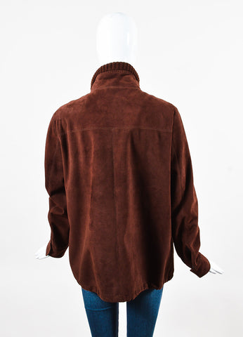 Loro Piana Maroon Suede Knit Collar Zipper Long Sleeve Jacket Back