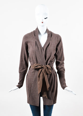 Brunello Cucinelli Brown Cashmere Belted Button Up Ruched Cardigan Front
