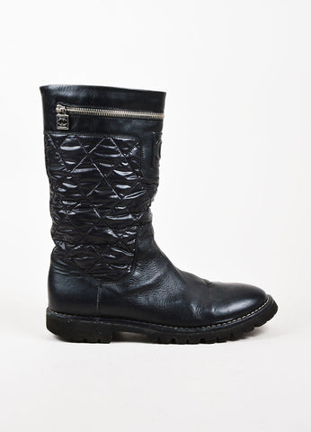Chanel Black Leather Nylon Quilted Paneled Zip Around Mid Calf Moto Boots Sideview