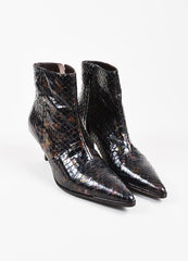 Gucci Purple and Chocolate Brown Python Iridescent Pointed Ankle Boots Frontview