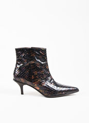 Gucci Purple and Chocolate Brown Python Iridescent Pointed Ankle Boots Sideview
