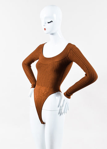 Alaia Camel Brown Stretch Knit Ribbed Long Sleeve Bodysuit Sideview