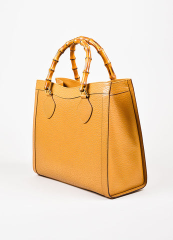 Gucci Tan Leather Textured Bamboo Handles Structured Tote Bag Back