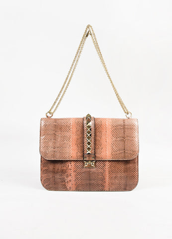 "Valentino  ""Rockstud Lock Large Flap"" Brown Rust Snakeskin Two Way Bag Front"