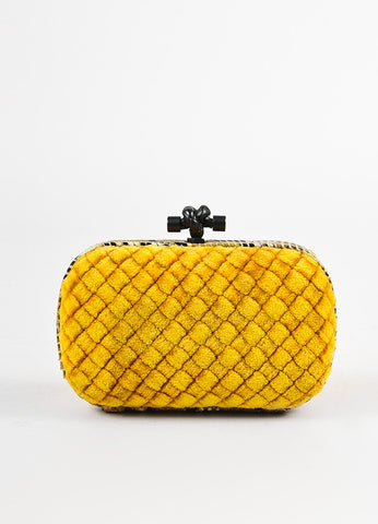 "Bottega Veneta Mustard Yellow Intrecciato Velvet Snakeskin ""Knot"" Clutch Bag Frontview"