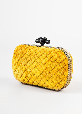 "Bottega Veneta Mustard Yellow Intrecciato Velvet Snakeskin ""Knot"" Clutch Bag Sideview"