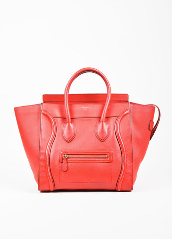 "Celine Red and Gold Toned Leather Winged Mini ""Luggage Tote"" Bag Frontview"