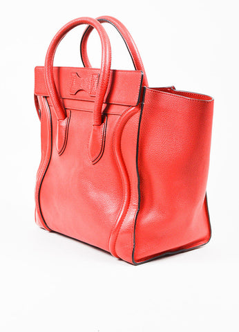 "Celine Red and Gold Toned Leather Winged Mini ""Luggage Tote"" Bag Sideview"