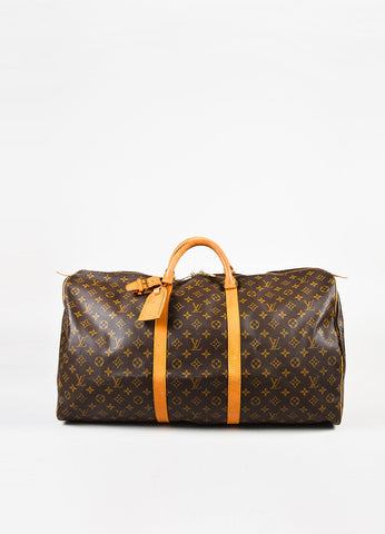 Louis Vuitton Brown Tan Coated Canvas Leather Monogram Keepall 60 Bag Front