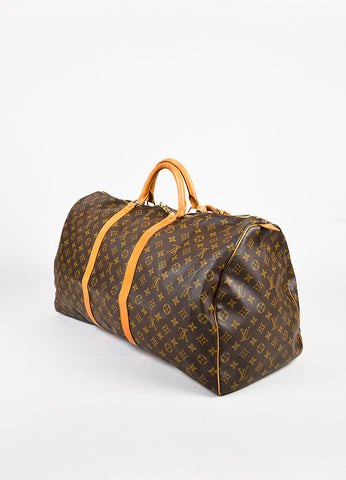 Louis Vuitton Brown Tan Coated Canvas Leather Monogram Keepall 60 Bag Back