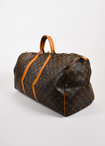 Louis Vuitton Brown Tan Coated Canvas Leather Monogram Keepall 55 Bag Back